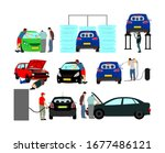 driver take care of car vector... | Shutterstock .eps vector #1677486121