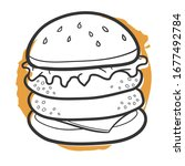 burger fast food traditional... | Shutterstock .eps vector #1677492784
