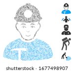 line mosaic based on miner icon.... | Shutterstock .eps vector #1677498907