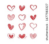 set of red hearts hand drawn.... | Shutterstock .eps vector #1677583327