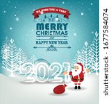 happy new year 2021 background... | Shutterstock .eps vector #1677584074