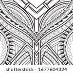 symmetrical pattern of maori... | Shutterstock .eps vector #1677604324