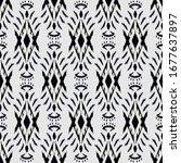 black and white ikat seamless... | Shutterstock .eps vector #1677637897