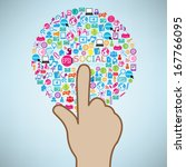 hand clicking social icon.... | Shutterstock .eps vector #167766095