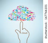 hand clicking cloud icon.... | Shutterstock .eps vector #167766101