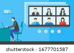 online virtual meetings  work... | Shutterstock .eps vector #1677701587