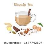 masala tea in glass cup... | Shutterstock .eps vector #1677742807