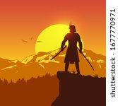 silhouette of japanese samurai... | Shutterstock .eps vector #1677770971