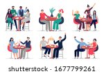 people sitting at cafe table.... | Shutterstock .eps vector #1677799261