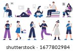 cute people study and read... | Shutterstock .eps vector #1677802984