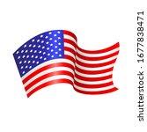 U.s. Flying Flag. Vector...
