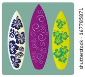 three different surfboards with ... | Shutterstock .eps vector #167785871