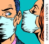 man and woman in medical masks. ... | Shutterstock .eps vector #1677870871