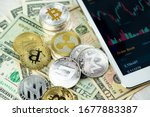 various cryptocurrency coins on ... | Shutterstock . vector #1677883387