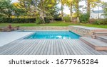 Home swimming pool in garden...