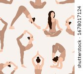 abstract yoga exercise seamless ... | Shutterstock .eps vector #1678017124