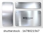 realistic shiny metal banners... | Shutterstock .eps vector #1678021567