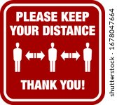 red please keep your distance... | Shutterstock .eps vector #1678047664