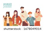 virus protection concept. crowd ... | Shutterstock .eps vector #1678049014