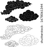 japanese wave and cloud... | Shutterstock .eps vector #1678061344