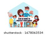 cute family in medical face... | Shutterstock .eps vector #1678063534