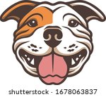Happy Bulldog Head Vector Art