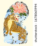 traditional japanese tiger with ... | Shutterstock .eps vector #1678065994