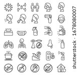 protecting against virus icons... | Shutterstock .eps vector #1678080007