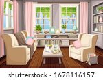 vector cozy spring living room... | Shutterstock .eps vector #1678116157
