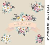 vector floral set with ribbon  | Shutterstock .eps vector #167814161