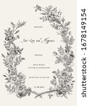 wreath with wild roses. wedding ... | Shutterstock .eps vector #1678149154