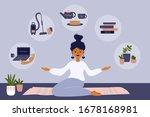 stay home illustration. care... | Shutterstock .eps vector #1678168981