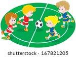children playing football | Shutterstock .eps vector #167821205
