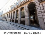Small photo of London, UK - June 26, 2018: Ironmonger lane alley street by Bank of England and Royal Exchange exterior architecture in morning with tunnel arch called Prudent