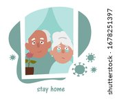 elderly people stay at home... | Shutterstock .eps vector #1678251397