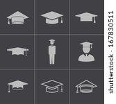 vector black academic cap icons ...   Shutterstock .eps vector #167830511