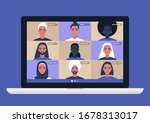 conference video call  remote... | Shutterstock .eps vector #1678313017