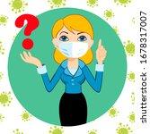 female in a medical mask.... | Shutterstock .eps vector #1678317007