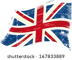 a british flag with a texture...   Shutterstock .eps vector #167833889
