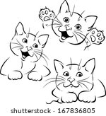 Stock vector vector cat playing black outline illustration 167836805