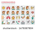 coronavirus color icon set for... | Shutterstock .eps vector #1678387804