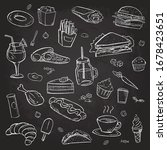 collection of hand drawn food... | Shutterstock .eps vector #1678423651