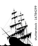 Black Old Ship At The Sea...
