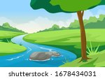 winding river mountain forest... | Shutterstock .eps vector #1678434031