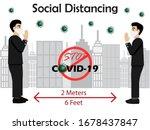 social distancing.businessmen...   Shutterstock .eps vector #1678437847