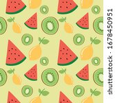 pattern with many kind of fruit | Shutterstock .eps vector #1678450951