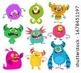 cute cartoon monsters. set of... | Shutterstock . vector #1678451197