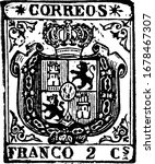 Spain Stamp (2 c) from 1854, a small adhesive piece of paper stuck to something to show an amount of money paid, mainly a postage stamp, vintage line drawing or engraving illustration.