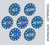 3d Emblems With Different Euro...