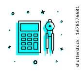 calculator and compasses icon....